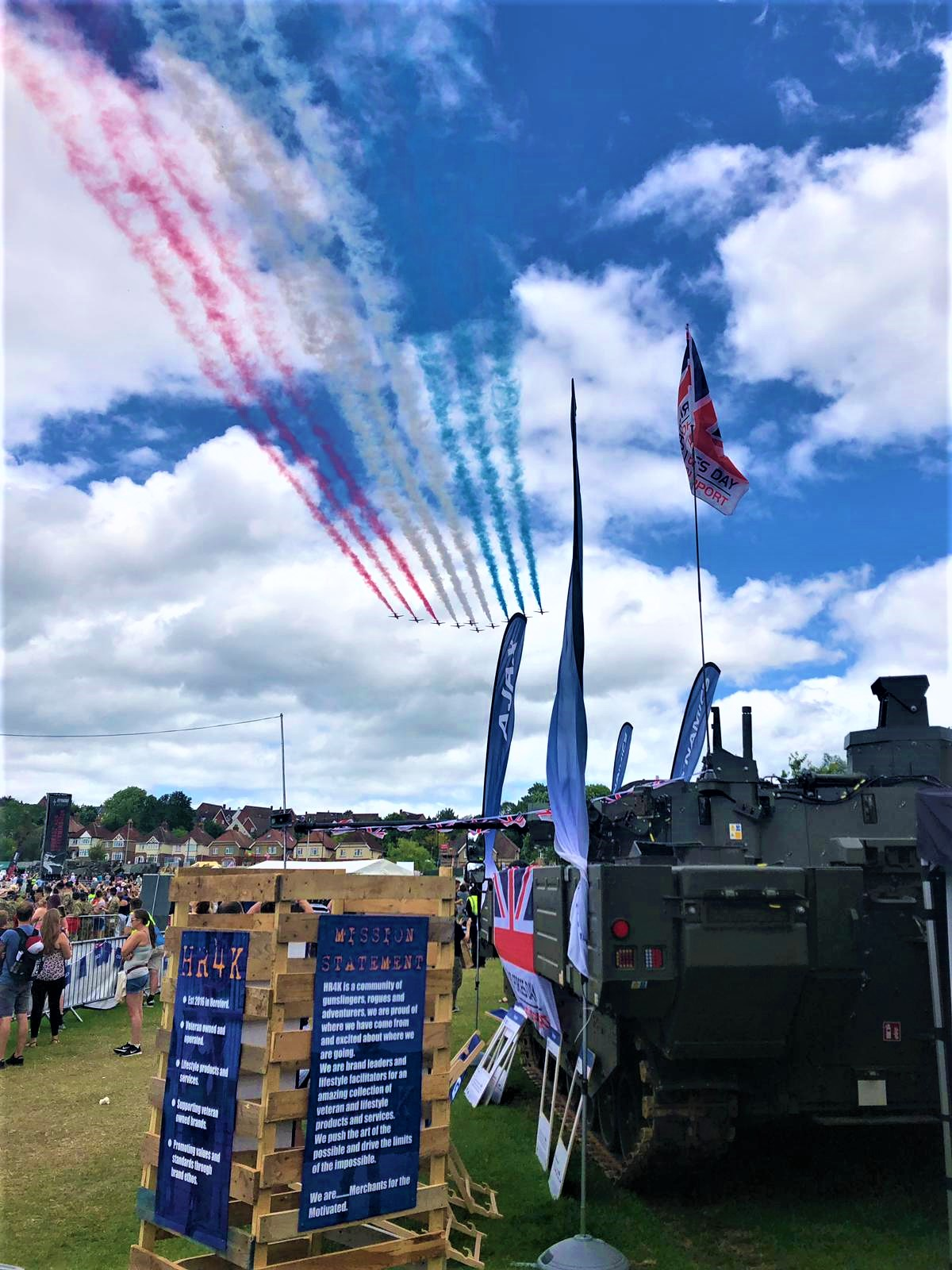 Red Arrows Fly by Tank at Salisbury Armed Forces Day National Event
