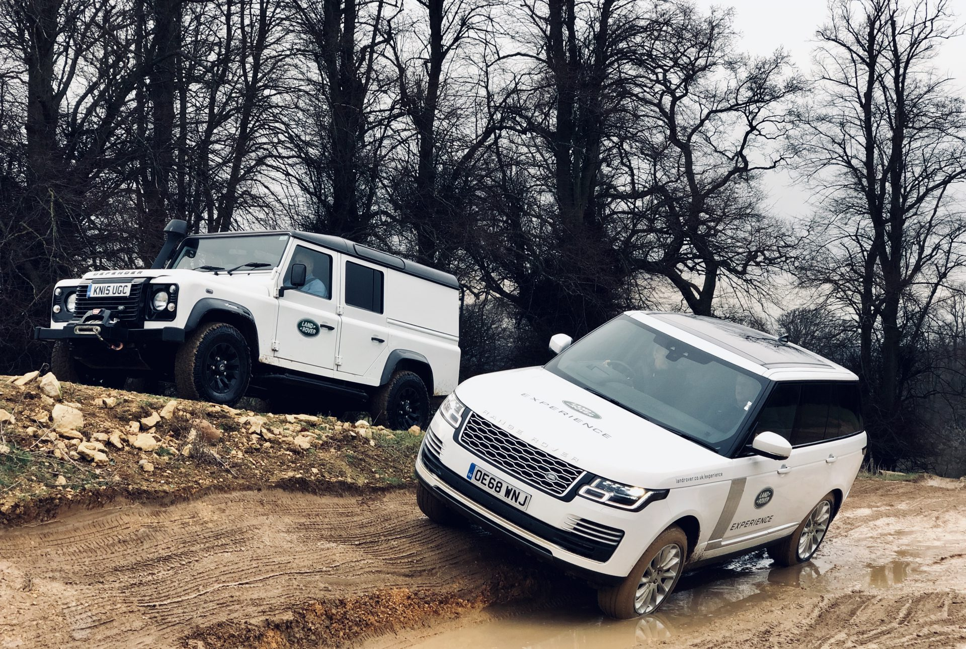 Land Rovers at Team Building Off Road Day, Rockingham Castle