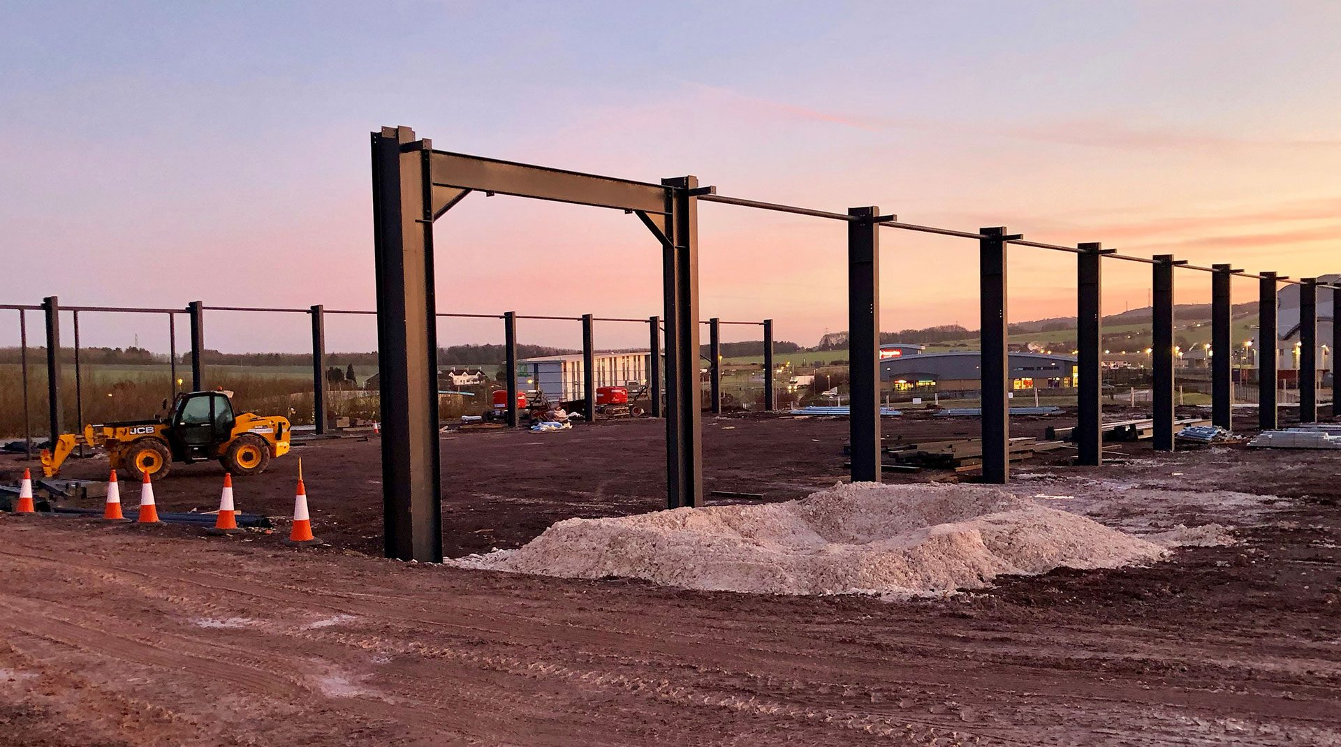 Steel frame construction at The Bluestone Centre